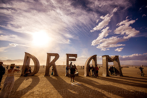 DREAM - giant letters - big words - burning man 2015, art installation, big words, burning man, dream, metal sculpture, steel