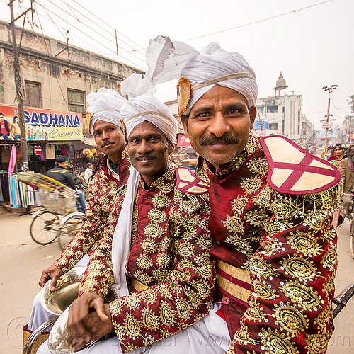 dressed-up musicians on their way to a wedding (india), cycle rickshaw, dressed-up, headdress, india, indian wedding, men, music band, musicians, turbans, uniform, varanasi