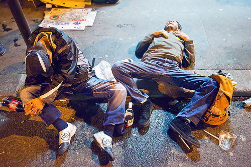 drunk men passed out on the street, bottles, curb, drunk, festival, fete de la musique, fête de la musique, garbage, gutter, lying down, men, night, paris, passed-out, rubbish, sitting, sleeping, street, trash, two, wasted, wine