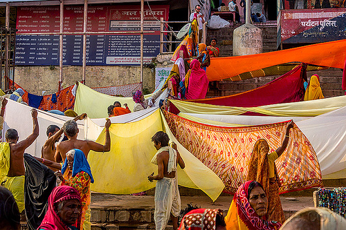 drying saris after holy bath - varanasi (india), cloth, cloth line, ghats, hanging, hindu, hinduism, holding, men, people, sarees, wind, women
