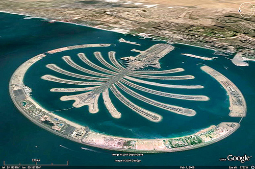 dubai world - palm jumeirah islands aerial - google earth, aerial photo, artificial island, cityscape, emirates, man-made island, marina, nakheel properties, palm islands, planned development, satellite photo, uae, urban development, urban planning