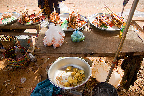 ducklings, eggs and ducks-on-a-stick (laos), baby ducks, birds, ducklings, eggs, kebabs, laos, poultry, street food, street market, street seller