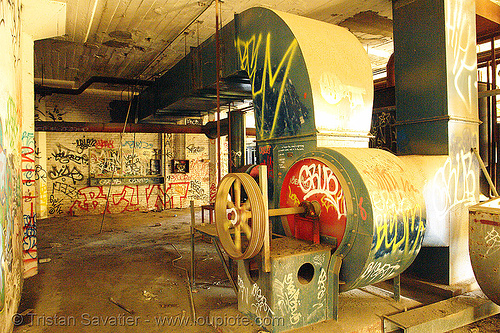 duct fan - air ducts - ventilation, air duct, derelict, graffiti, street art, tie's warehouse, trespassing