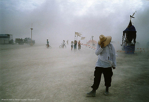 dust-storm - burning-man, art, burning man, dust storm, people