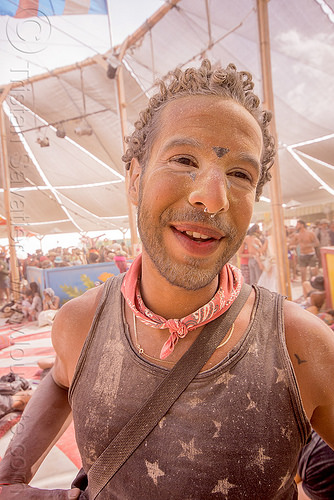 dusty trinidadian man at center camp - burning man 2015, burning man, dusty, trinidadian, tt