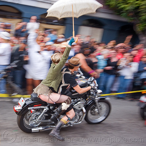 dykes on bike with umbrella, dykes on bikes, gay pride festival, harley davidson, motorcycle, rider, riding, umbrella, woman
