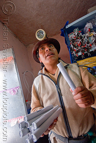 dynamite sticks - potosi (bolivia), bolivia, cerro rico, dinabol, dynamite sticks, flash light, man, mina candelaria, mine worker, miner, mining, potosí, safety helmet