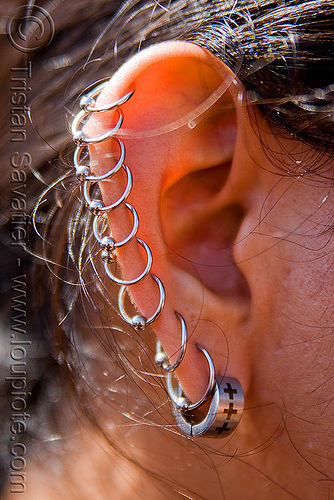ear helix piercing - earrings, dore alley fair, ear piercing, ear rim piercing, earrings, helix piercing, man