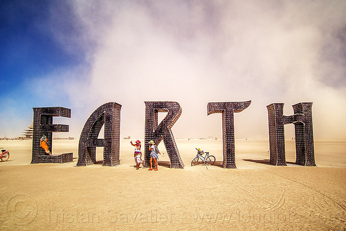 EARTH giant letters sculpture - burning man 2016, @earth #home, art installation, big words, burning man, metal sculpture, steel