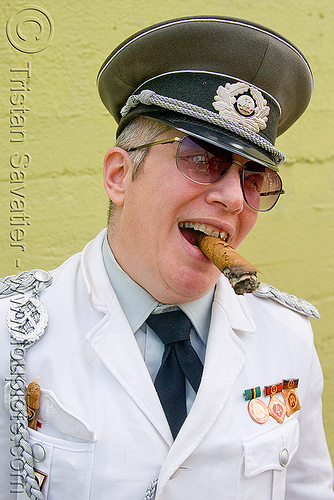 east german army officer costume, army, cigar, dore alley fair, east german, military cap, military hat, officer, smoking, sunglasses, uniform, woman