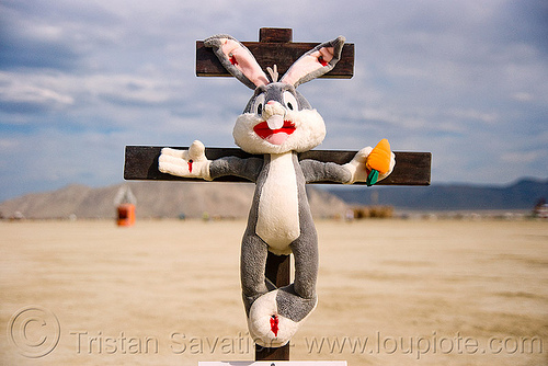 easter bunny on cross, animal cruelty, art installation, blasphemous, blasphemy, bugs bunny, burning man, carrot, corpus, cross, crucified, crucifix, jesus christ, nailed, plush, religion, stuffed animal, stuffed bunny, stuffed rabbit, unidentified art