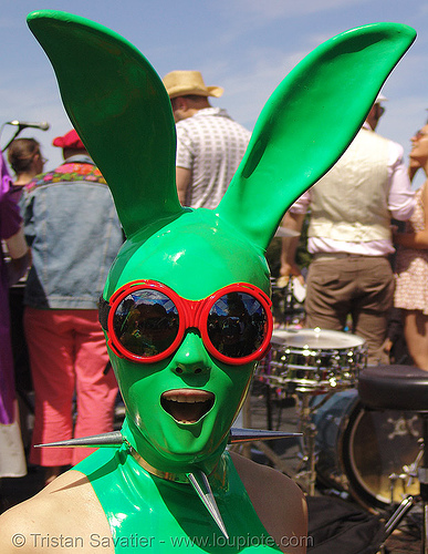 easter sunday in dolores park, san francisco, bunny ears, dolores park, easter, glasses, green, hunky jesus contest, latex mask, rabbit ears, red, spikes, sunglasses