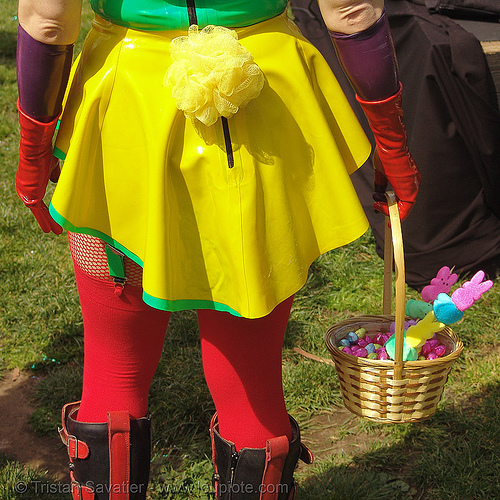 easter sunday in dolores park, san francisco, dolores park, easter, hunky jesus contest, latex bodysuit, red, yellow