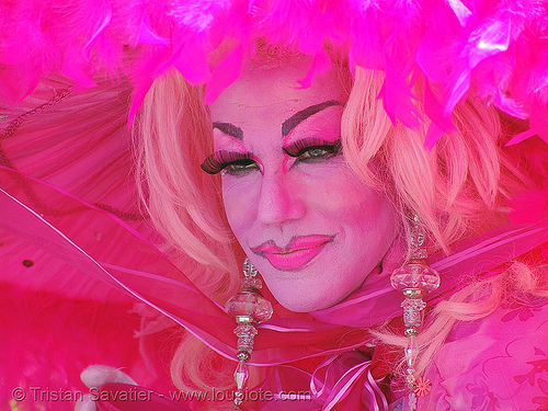 easter sunday in dolores park, san francisco, crossdressing, drag queen, easter, flashy color, makeup, pink, transvestite