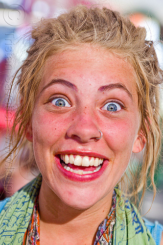 the effect of burning man on a girl's brain - burning man 2012, blonde, eyes, nose piercing, nose ring, nostril piercing, woman