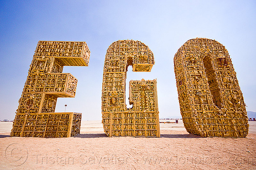 EGO - burning man 2012, art installation, burning man, letters, the ego project
