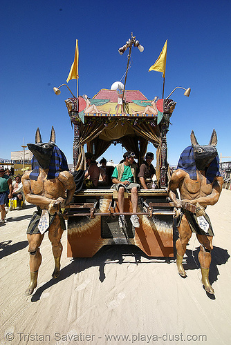 egyptian art car - anubis walks - burning man 2007, anubis, art car, burning man, egyptian