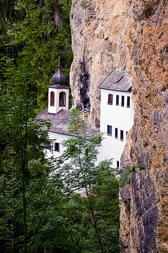 einsiedelei - kapelle - cave chapel - saalfelden, architecture, austria, austrian alps, cave chapel, cave church, cliff, einsiedelei, forest, hermitage, kapelle, mountains, saalfelden, trees