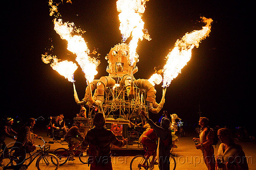 el pulpo mecanico - burning man 2012, art car, fire, flames, metal, night, octopus, octopus art car, sculpture, steampunk, steampunk octopus