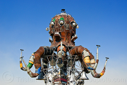 el pulpo mecanico - burning man 2013, burning man, el pulpo mecanico, mutant vehicles, octopus art car, sculpture, steampunk octopus