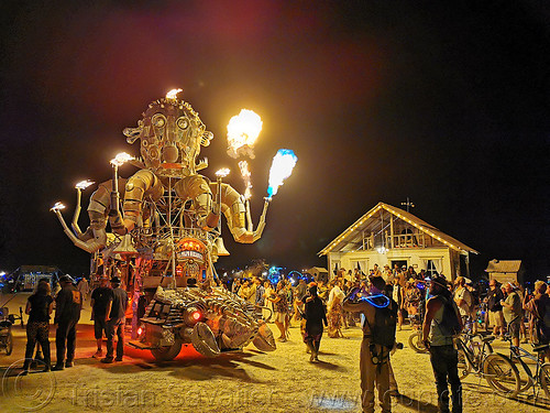 el pulpo mecanico - burning man 2019, art car, burning man, mutant vehicles, night