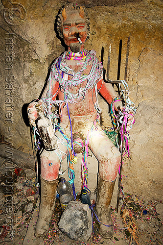 el tio, altar, bottle, cerro rico, cigarette, el el, fork, horns, icon, mina candelaria, mine, mining, offerings, potosí, red, serpentine throws, spirit, tio, tunnel, tío el