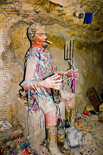 el tio - the spirit of the mine, altar, bolivia, cerro rico, cigarette, el el, icon, mina candelaria, mine tunnel, mining, offerings, potosí, red, serpentine throws, spirit, tio, tío el, underground mine