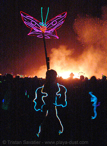 EL-wire butterfly - burning man 2007, burning man, butterfly wings, el-wire, electroluminescent wire, fire, flames, night of the burn