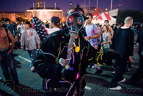 EL-wire costume, el-wire costumes, electroluminescent wire, festival, gas mask, love fest, lovevolution
