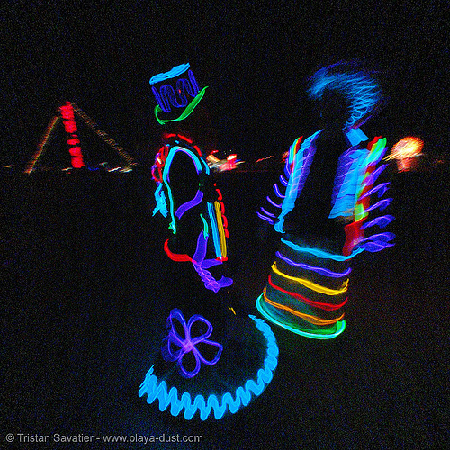 EL-wire couple - burning-man 2005, art, burning man, el-wire costumes, electroluminescent wire, night