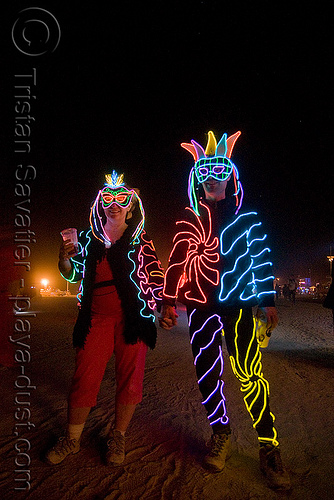 el-wire couple - burning man 2008, art, burning man, couple, el-wire costumes, electroluminescent wire, night