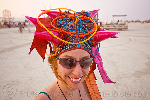 EL-wire spiky hat - burning man 2013, burning man, el-wire, hat, headdress, headwear, spiky, sunglasses, woman