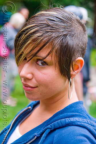 elana - young woman (san francisco), dirty bird party, earring, elana, hoody, short hair, woman
