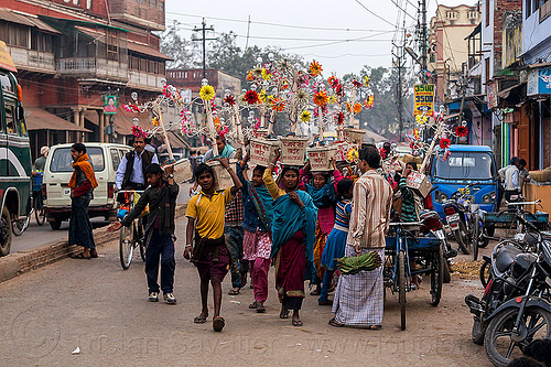 electric flowers for wedding (india), electric, flowers, india, men, traffic, transport, transporting, varanasi, walking, wedding, women