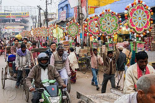 electric flowers for wedding (india), decoration, electric, men, street, traffic, transport, transporting, varanasi, walking, wedding