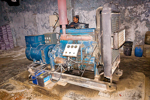 electric generator in small factory, diesel engine, electric generator, lucknow, man, motor, print shop, worker