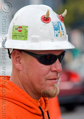 electrical worker with safety helmet, caltrain contractor, dick mico, electrical worker, horns, man, orange color, pacific gas & electric, pg&e, safety helmet, safety trained, sunglasses
