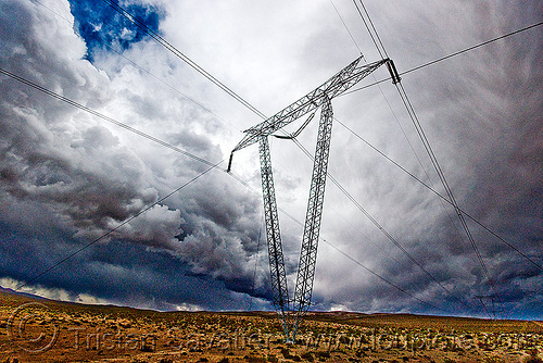 electricity pylon and high voltage transmission power line, abra el acay, acay pass, altiplano, argentina, cloud, cloudy, electric line, electricity pylon, high voltage, noroeste argentino, power transmission lines, storm, stormy sky, transmission tower, wires