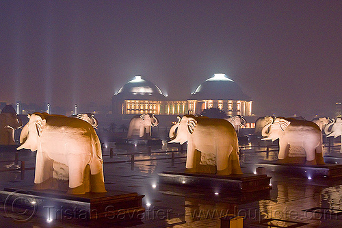 elephant rows - domes - ambedkar memorial, architecture, domes, dr bhimrao ambedkar memorial park, elephant sculptures, elephant statues, elephants, india, lucknow, monument, night, pratibimb sthal, stone elephant