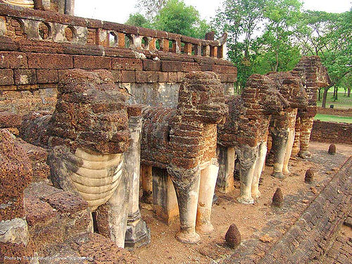 elephant sculptures - วัดช้างล้อม - wat chang lom - อุทยานประวัติศาสตร์ศรีสัชนาลัย - si satchanalai chaliang historical park, near sukhothai - thailand, amphoe si satchanalai, bricks, elephants, ruins, stone, stone elephant, temple, ประเทศไทย, วัดช้างล้อม, อุทยานประวัติศาสตร์ศรีสัชนาลัย