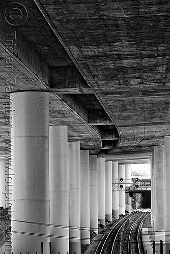 elevated freeway and railroad, 280, caltrain, columns, concrete, dog patch, elevated freeway, infrastructure, pillars, railroad tracks, rails, railway tracks, urban