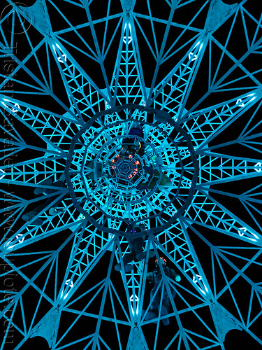 elevation tower at nigh - view from under - burning man 2019, art installation, burning man, climbing, elevation tower, glowing, interactive, michael christian, night, sculpture