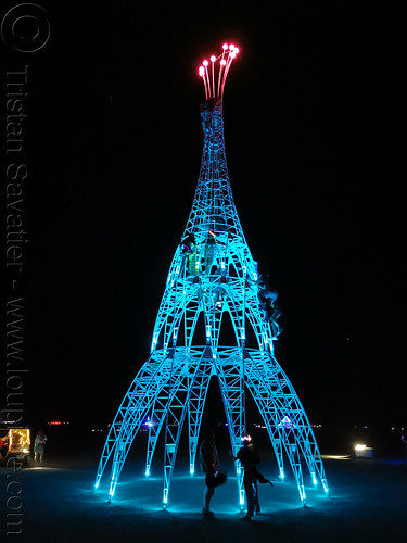 elevation tower at night - burning man 2019, art installation, burning man, climbing, elevation tower, glowing, interactive, michael christian, night, sculpture