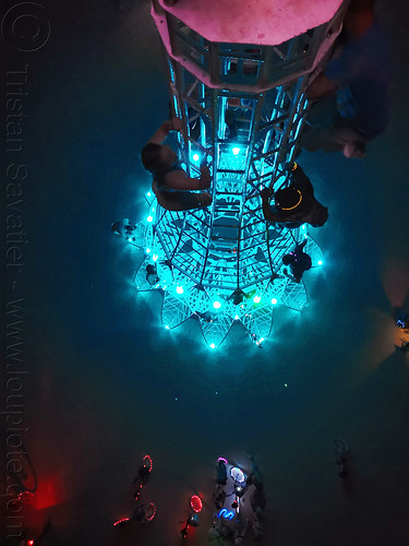 elevation tower at night from the top - burning man 2019, art installation, burning man, climbing, elevation tower, glowing, interactive, michael christian, night, sculpture