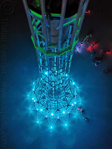 elevation tower at night - view from top - burning man 2019, art installation, burning man, climbing, elevation tower, glowing, interactive, michael christian, night, sculpture