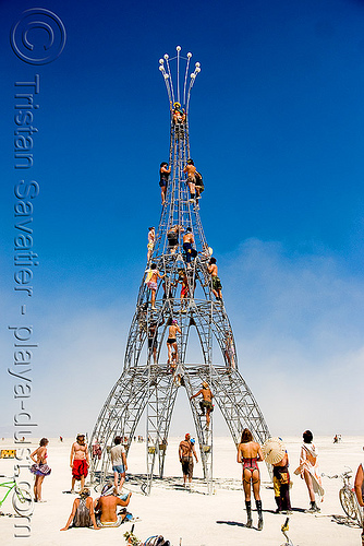 tower - burning man 2008, art, art installation, climbing, elevation, interactive, metal, michael christian, playa, sculpture