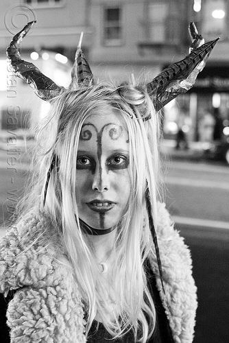 elf costume, costume, elf, face painting, facepaint, halloween, horns, makeup, tess, woman
