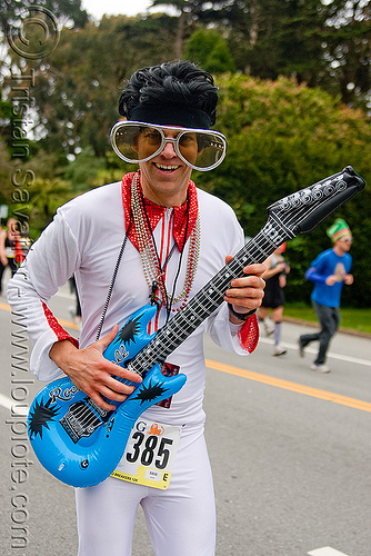 elvis impersonator, bay to breakers, electric guitar, elvis impersonator, festival, footrace, man, street party