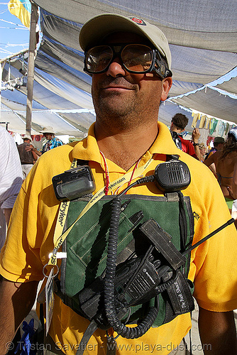 emergengy medical services - EMS - paramedic with radios - burning man 2007, burning man, center camp, ems, esd, medic, paramedic, radios, tony, walky-talkies