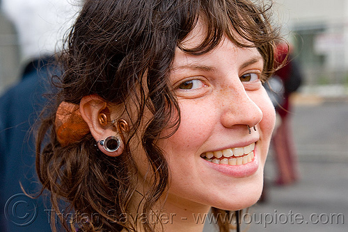 emily - burning man decompression 2009 (san francisco), burning man decompression, gauged ear, piercing, woman